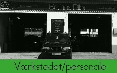 om værkstedet og personale hos Bruhns Biler