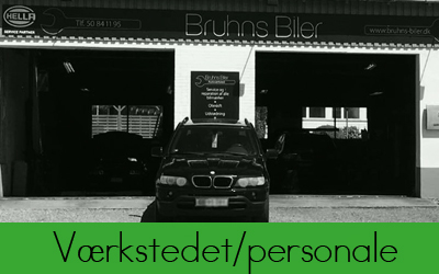 om værkstedet/personale hos Bruhns Biler