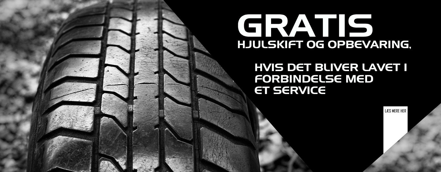 Gratis skift og hjulopbevaring i forbindelse med service hos Bruhns Biler