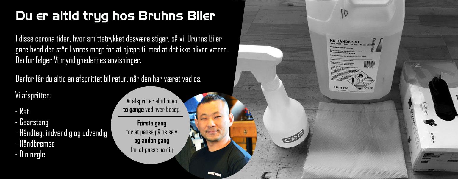 Du er altid tryg hos Bruhns biler under corona