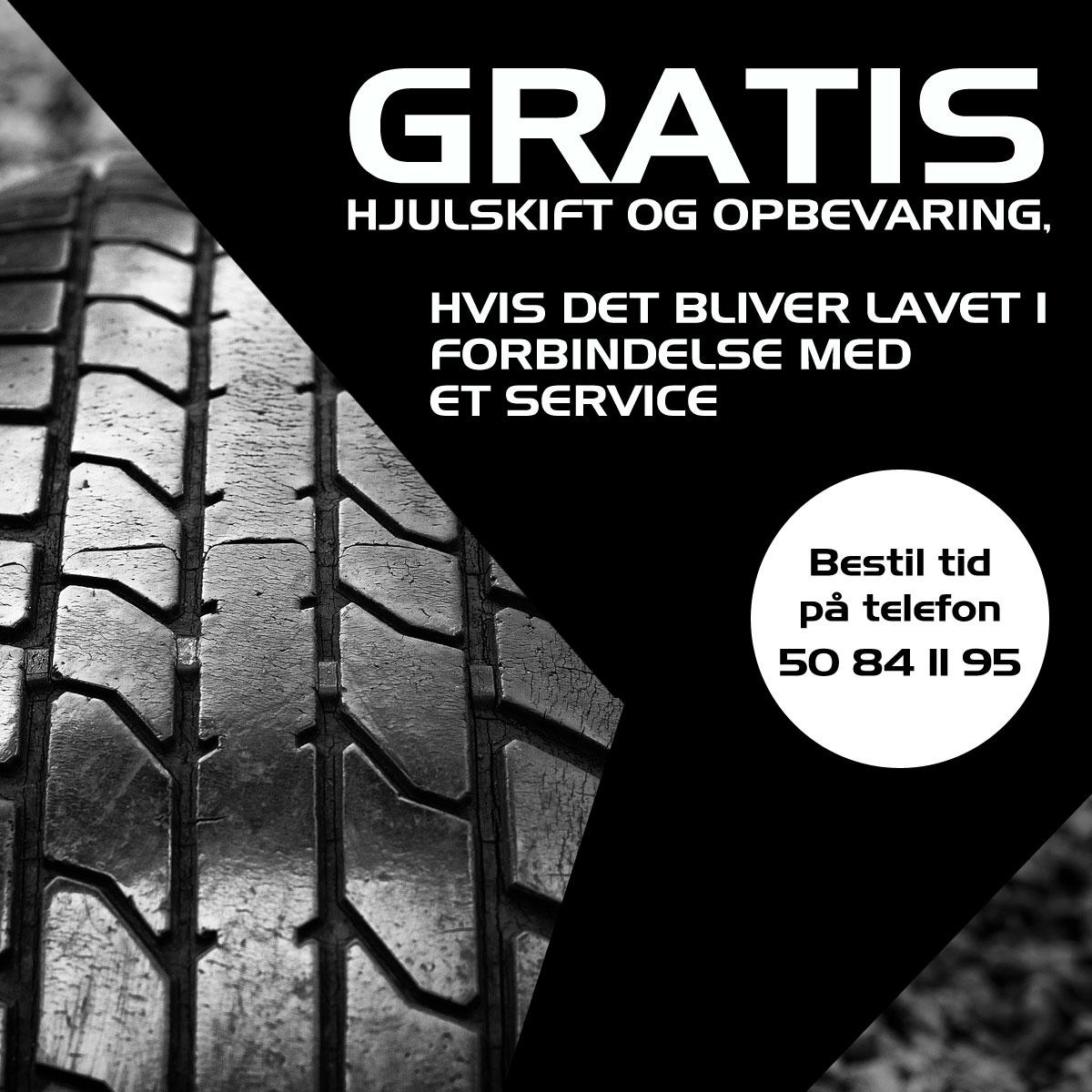 Gratis hjuleskift og opbevaring hos bruhns biler i forbindelse med service
